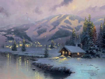Olympic Mountain Evening Thomas Kinkade Oil Paintings