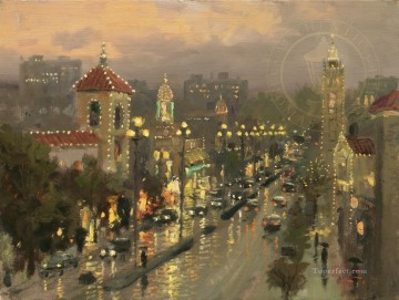 thomas kinkade Painting - Plaza Lights Kansas City Thomas Kinkade