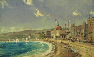 The Beach at Nice Robert Girrard Thomas Kinkade Oil Paintings