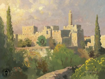 Thomas Kinkade Painting - Tower of David Thomas Kinkade