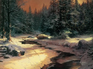 Thomas Kinkade Painting - Winter s End Thomas Kinkade