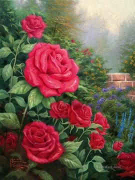 rose roses Painting - A Perfect Red Rose Thomas Kinkade