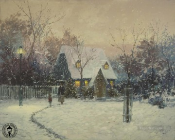 Kinkade Canvas - A Winters Cottage Thomas Kinkade