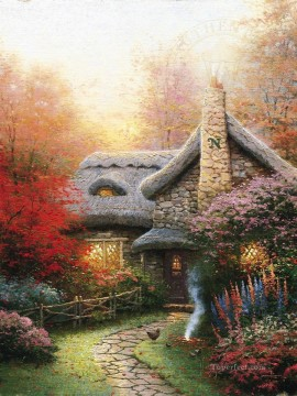 Kinkade Canvas - Autumn At Ashley Cottage Thomas Kinkade