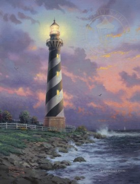 Thomas Kinkade Painting - Cape Hatteras Light Thomas Kinkade