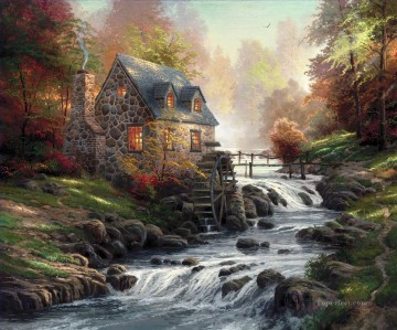 Thomas Kinkade Painting - Cobblestone Mill Thomas Kinkade