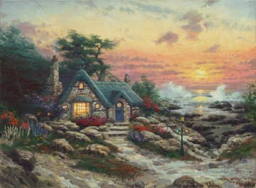 Thomas Kinkade Painting - Cottage By The Sea Thomas Kinkade