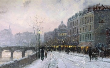 Evening on the Seine Robert Girrard Thomas Kinkade Oil Paintings
