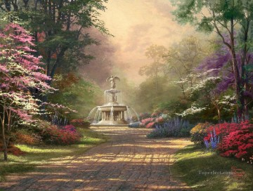 Thomas Kinkade Painting - Fountain of Blessings Thomas Kinkade