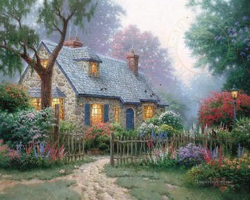 Kinkade Canvas - Foxglove Cottage Thomas Kinkade
