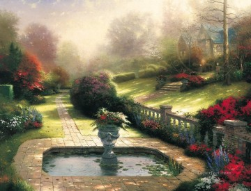 Thomas Kinkade Painting - Gardens Beyond Autumn Gate Thomas Kinkade