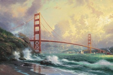 Kinkade Canvas - Golden Gate Bridge San Fra Thomas Kinkade