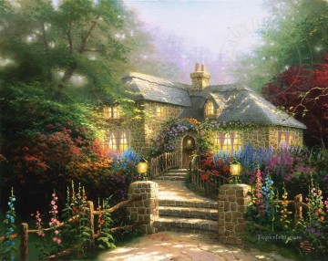 Thomas Kinkade Painting - Hollyhock House Thomas Kinkade