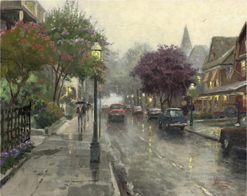 Thomas Kinkade Painting - Jackson Street Cape May Thomas Kinkade