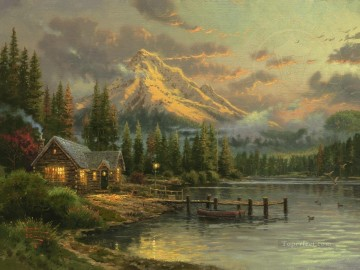 Lake Oil Painting - Lakeside Hideaway Thomas Kinkade