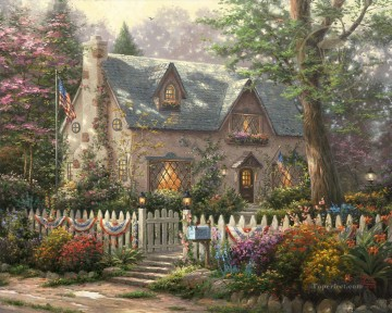 Thomas Kinkade Painting - Liberty Lane Cottage Thomas Kinkade