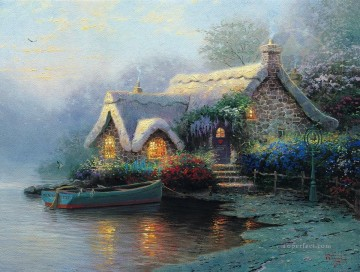 thomas kinkade Painting - Lochaven Cottage Thomas Kinkade