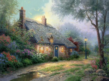 Kinkade Canvas - Moonlight Cottage Thomas Kinkade