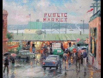 Thomas Kinkade Painting - Pike Place Market Thomas Kinkade