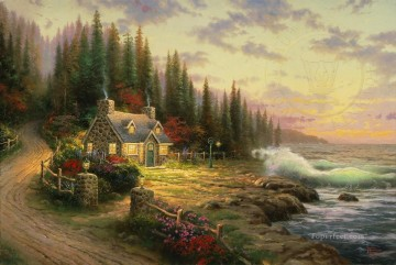 Pine Cove Cottage Thomas Kinkade Oil Paintings