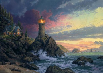 Kinkade Canvas - Rock Of Salvation Thomas Kinkade