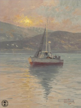 Kinkade Canvas - Sunrise Sea of Galilee Thomas Kinkade