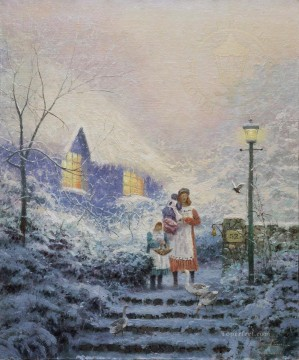 Thomas Kinkade Painting - The Blue Cottage Thomas Kinkade