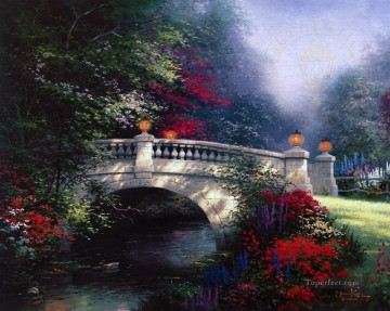 thomas kinkade Painting - The Broadwater Bridge Thomashire Thomas Kinkade