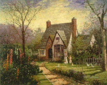 Thomas Kinkade Painting - The Cottage Robert Girrard Thomas Kinkade