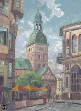 Kinkade Canvas - The Dome Cathedral Riga Latvia Thomas Kinkade