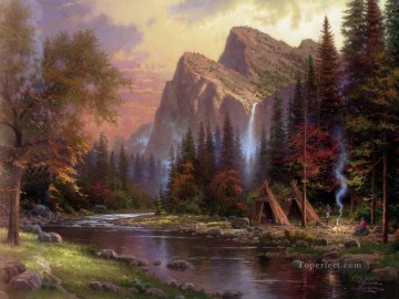 mountains Canvas - The Mountains Declare His Glory Thomas Kinkade