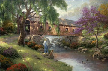 Thomas Kinkade Painting - The Old Fishin Hole Thomas Kinkade