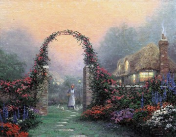 The Rose Arbor Cottage Thomas Kinkade Oil Paintings