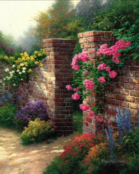 Thomas Kinkade Painting - The Rose Garden Thomas Kinkade