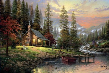 Thomas Kinkade Painting - A Peaceful Retreat Thomas Kinkade