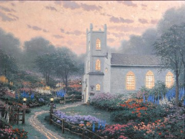 Kinkade Canvas - Blossom Hill Church Thomas Kinkade