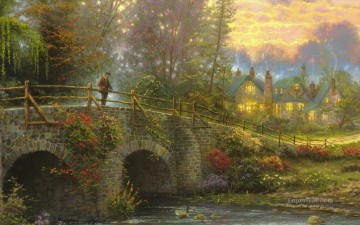 Cobblestone Evening Thomas Kinkade Oil Paintings