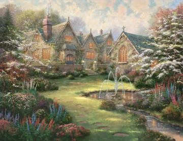 Thomas Kinkade Painting - Garden Manor Thomas Kinkade