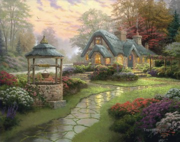 Thomas Kinkade Painting - Make a Wish Cottage Thomas Kinkade