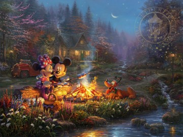 Mickey and Minnie Sweetheart Campfire Thomas Kinkade Oil Paintings