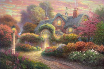 Thomas Kinkade Painting - Rosebud Cottage Thomas Kinkade