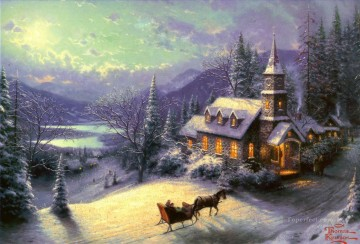 Sunday Evening Sleigh Ride Thomas Kinkade Oil Paintings
