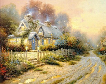 Kinkade Canvas - Teacup Cottage Thomas Kinkade