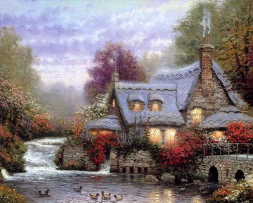 The Miller Cottage Thomashire Thomas Kinkade Oil Paintings
