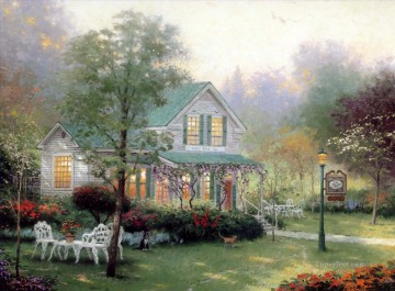 Thomas Kinkade Painting - The Village Inn Thomas Kinkade