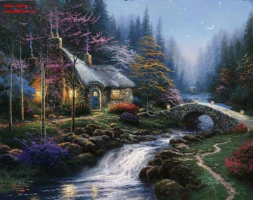 Thomas Kinkade Painting - Twilight Cottage Thomas Kinkade