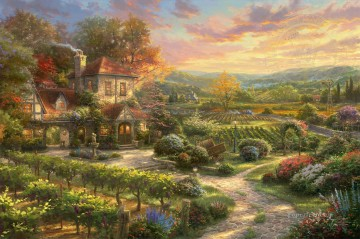 thomas kinkade Painting - Wine Country Living Thomas Kinkade