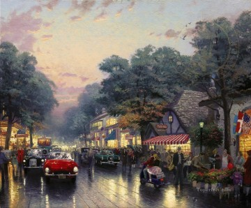 Thomas Kinkade Painting - Carmel Dolores Street And The Tuck Box Tea Room Thomas Kinkade