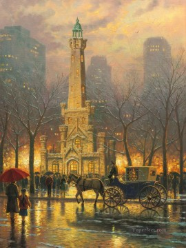 Thomas Kinkade Painting - Chicago Winter at the Water Tower Thomas Kinkade