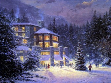 Christmas At The Ahwahnee Thomas Kinkade Oil Paintings